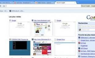 La page de démarage de Google Chrome affiche vos sites les plus visités