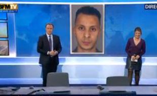 Pendant la météo de BFM TV, les présentateurs ont la mauvaise surprise de découvrir le portrait de Salah Abdeslam, le 17 décembre 2015.