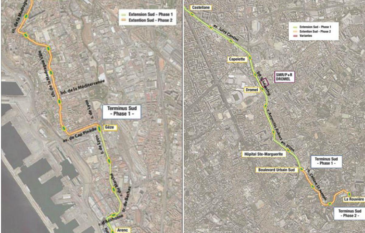 Les tracés du tram vers le nord et le sud à Marseille – DR