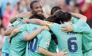 Les Barcelonais fêtentn leur titre, le 11 mai 2011, à Levante.