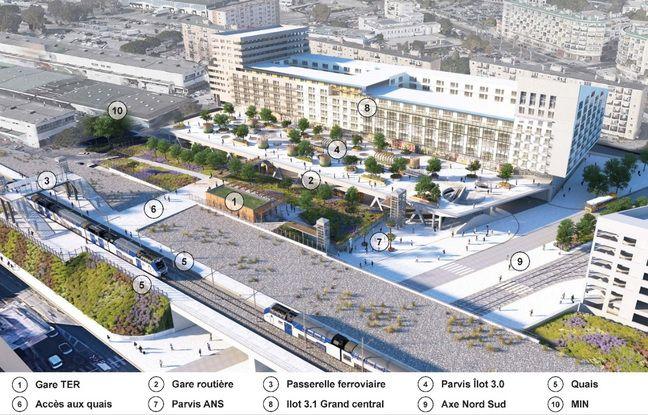 Le projet de nouvelle gare tel qu'il doit être inauguré en 2022, avec la gare routière qui sera elle ouverte en 2023