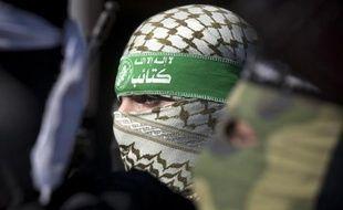 Un militant de la branche armée du Hamas, lors d'un rassemblement à Gaza, le 5 février 2015