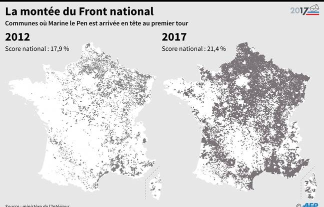 Carte des communes où Marine Le Pen est arrivée en tête du premier tour des élections présidentielles.