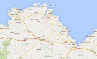 Plan de situation de la commune de Plourivo, dans les Côtes d'Armor.
