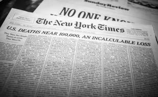 The front page of the New York Times on Sunday, May 24, 2020 prints the names and a short obituary of 1000 of the almost 100,000 U.S. victims of the Covid-19 pandemic.