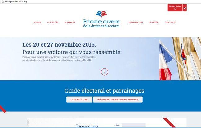 Capture écran du site http://www.primaire2016.org/