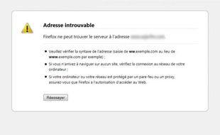 Message d'erreur sur Internet : adresse introuvable.