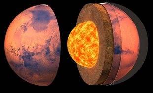 Vue d'artiste de la structure interne de la planète rouge