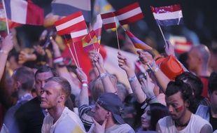 Spectateurs à la finale de l'Eurovision à Kiev le 13 mai 2017
