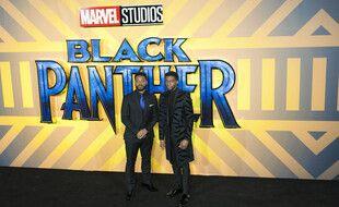 Le réalisateur Ryan Coogler et l'acteur Chadwick Boseman lors de l'avant-première de «Black Panther» à Londres en 2018