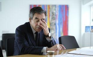 François Fillon, le 28 janvier 2017, dans son QG à Paris.