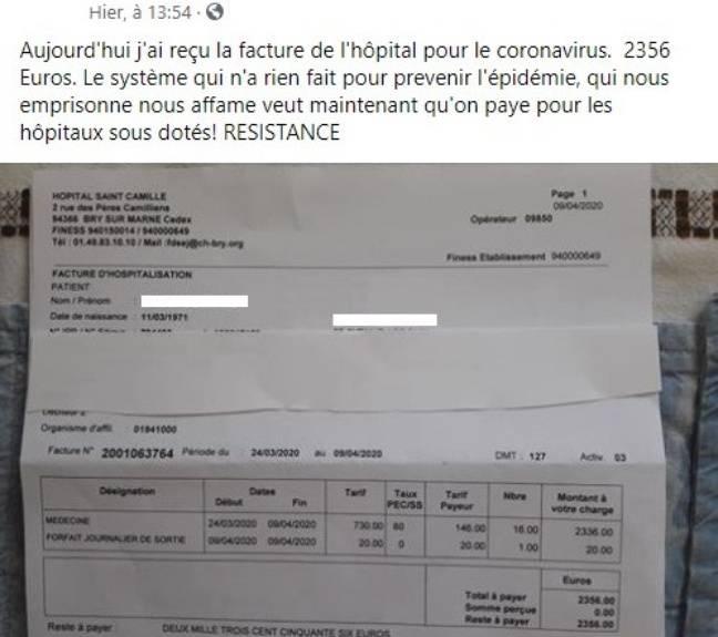 La facture d'hôpital partagée par un patiente atteinte du Covid-19 sur Facebook.