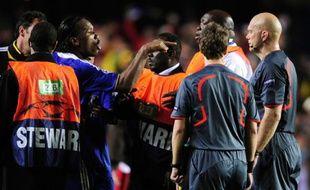 Didier Drogba en colère à la fin de la demi-finale retour contre Barcelone (1-1) le 6 mai 2009.