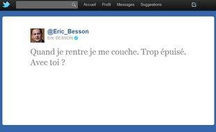 Capture d'écran d'un tweet d'Eric Besson resté en ligne quelques minutes, le 19 octobre 2011.