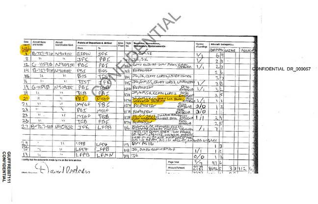 Manifeste de vol de jet privée de Jeffrey Epstein.