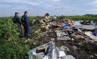 Le site du crash de l'avion de la Malaysia Airlines MH17 dans un champ de tournesols près de Rassipnoe, dans l'est de l'Ukraine une zone tenue par les rebelles pro-russes le 19 juillet 2014