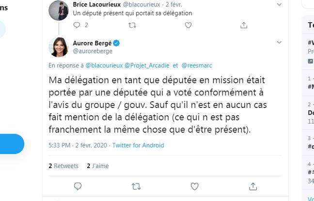 Tweet d'Aurore Bergé