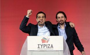 Alexis Tsipras, leader de Syriza avec Pablo Iglesias chef de Podemos, parti de gauche antilibéral espagnol le 22 janvier.