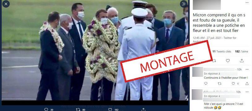 Emmanuel Macron a bien été accueilli avec plusieurs colliers de fleurs de tiare lors de son arrivée, dimanche, à Tahiti, mais cette accumulation de colliers est un montage humoristique.