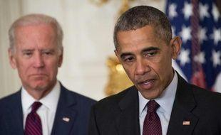 Le président américain Barack Obama et son vice-président Joe Biden, à la Maison Blanche, le 30 mars 2016