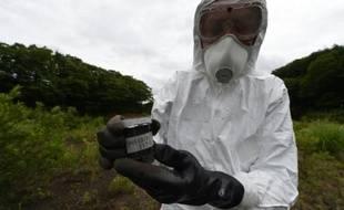 Un expert nucléaire de Greenpeace, Jan Vande Putte recueille des échantillons de terre dans le village de Iitate, qui s'est trouvé dans le sillage du nuage radioactif de Fukushima