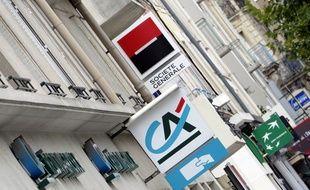 Les enseignes de plusieurs banques françaises à Rennes.