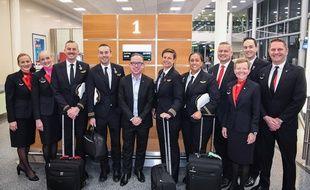 L'équipe de Qantas Airways après 19 heures de vol, Sydney, le 15 novembre 2019