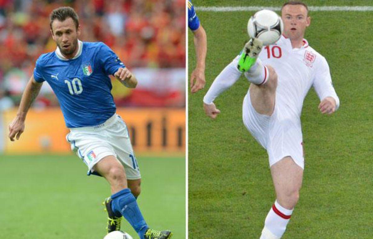 L'Italien antonio Cassano et l'Anglais Wayne Rooney, le 21 juin 2012. – STF / AFP