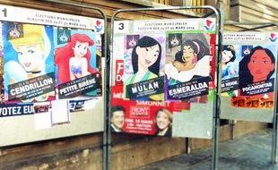 Depuis dimanche, les princesses Disney s'affichent sur les panneaux électoraux parisiens.