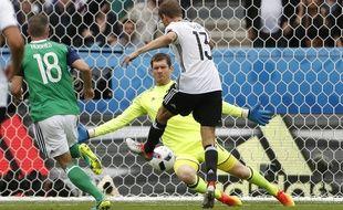 L'attaquant de l'Allemagne Thomas Muller contre l'Irlande du Nord, le 21 juin 2016, au Parc des Princes.