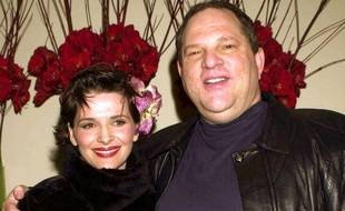 Juliette Binoche et Harvey Weinstein, à Londres le 12 février 2001.