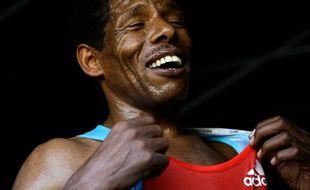 Le marathonien Haile Gebreselassie, lors du marathon de Madrid, le 25 avril 2010.