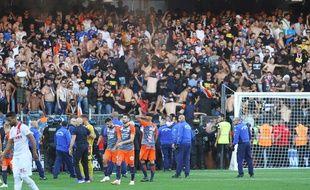 Montpellier Nîmes : Des CRS sont intervenus devant les tribunes des Ultras de Montpellier