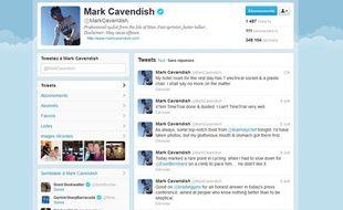 Capture d'écran du compte Twitter du spinteur Mark Cavendish.