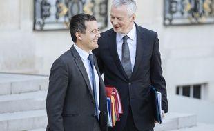 Gérald Darmanin et Bruno Le Maire sortent du Conseil des ministres à l'Elysée, le 24 septembre 2018.
