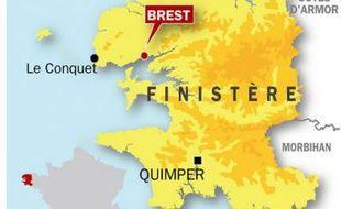 Carte de localisation de Brest (Finistère), où une fillette de 10 ans aurait mimé une tentative de suicide.