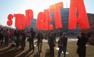 Strasbourg le 15 février 2017. Manifestation contre le Ceta devant le Parlement Européen à Strasbourg. Ceta est finalement adopté par les Eurodéputés.