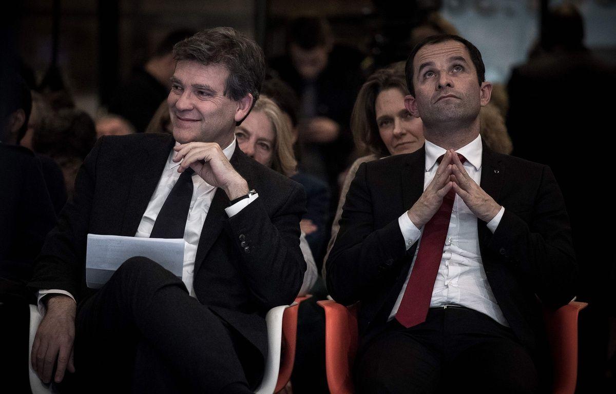 Les anciens ministres Arnaud Montebourg et Benoit Hamon, photographiés le 15 décembre 2016, à Paris, font partie des candidats retenus pour la primaire à gauche. – AFP