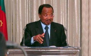 Le président camerounais Paul Biya, le 19 avril 2013 au palais présidentiel à Yaoundé