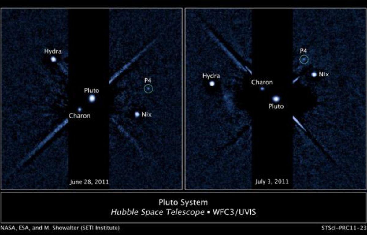 Pluton et ses quatres lunes, observées par Hubble. – M.SHOWALTER/SETI Inst./NASA/ ESA