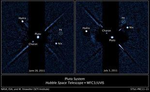 Pluton et ses quatres lunes, observées par Hubble.