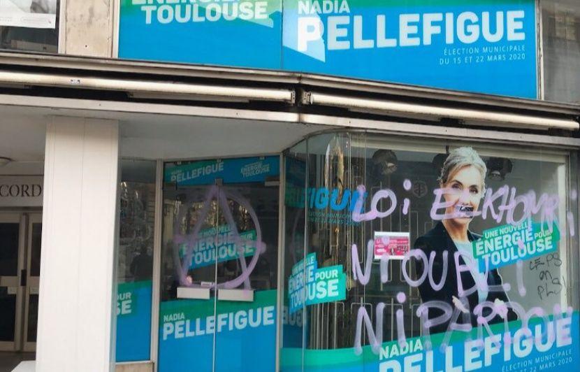 Municipales 2020 à Toulouse : La permanence de Nadia Pellefigue, la candidate socialiste, taguée
