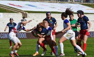 Les joueuses de l'équipe de France de rugby à VII, ici contre l'Espagne