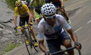 Nairo Quintana devant Chris Froome, le 24 juillet 2015, sur le Tour de France.