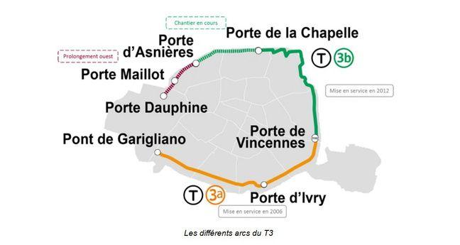 Le tracé du tramway T3 et de son prolongement à Paris.