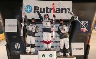 Perrine Laffont a remporté l'épreuve de Coupe du monde de ski de bosses à Deer Valley, aux Etats-Unis, le 10 janvier 2018.