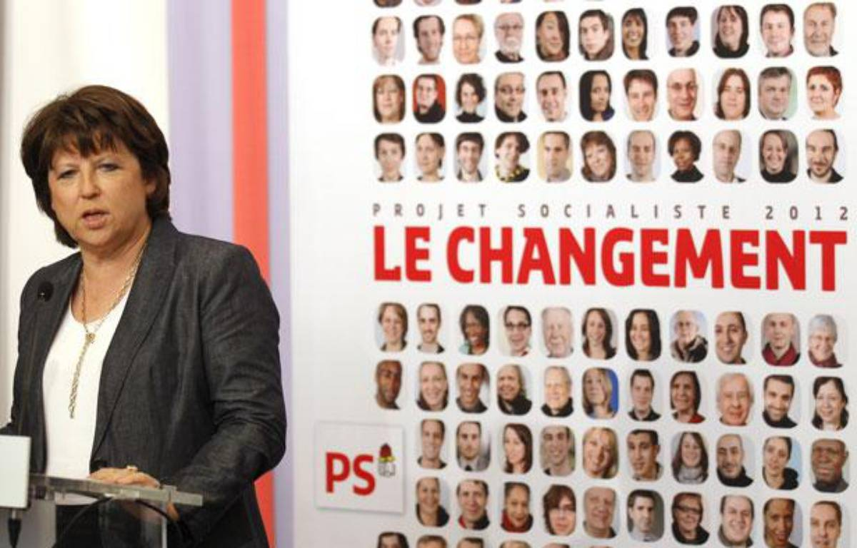 Martine Aubry, lors de la présentation du programme du Parti socialiste pour la présidentielle 2012, à Solférino, à Paris, le 5 avril 2011. – REUTERS/Benoit Tessier
