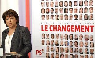 Martine Aubry, lors de la présentation du programme du Parti socialiste pour la présidentielle 2012, à Solférino, à Paris, le 5 avril 2011.