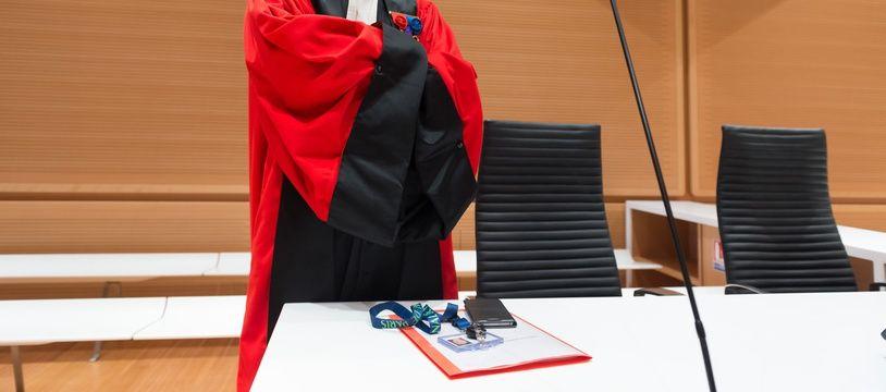 Paris, le 14 mai 2018. François Molins, le procureur de Paris, lors de l'audience d'installation du nouveau tribunal de Paris.