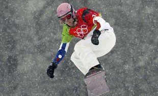 Karine Ruby pendant les JO de Turin, le 17 février 2006.